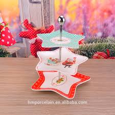 3 tiers cake fruit tray stand christmas star ceramic plate cupcake
