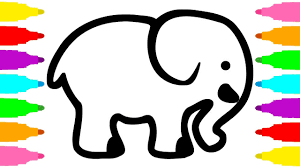 learn colors with drawing and coloring elephant for kids children