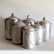 unique french vintage aluminum kitchen canisters set of 6 unique french vintage aluminum kitchen canisters set of 6 graduated containers rare design with geometric tops french vintage kitchen