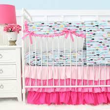 Baby Bedding Tribal In Pink U0026 Aqua Bumperless Crib Bedding Caden Lane