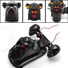 Radio Control Harley Davidson Fat Boy Black Motorcycle Skull Integrated Brake Stop Tail Turn Signal
