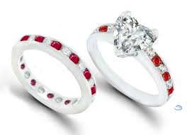 Engagement Ring With Wedding Band by Attractive Design Ruby Wedding Ring With Wedding Band Round Cut
