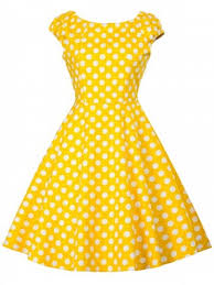 yellow dress yellow l vintage polka dot skater dress rosegal