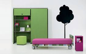 funny cool teen bedroom with green cabinet and desk with green