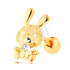 piercing aur piercing pentru ureche din aur galben de 14k iepure lucios cu