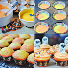 Halloween Skeleton Cupcakes by Reeces Pieces Two Tone Halloween Cupcakes