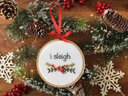 i sleigh beyonce christmas cross stitch christmas ornament