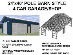 Garage Plans Sds Plans by 63 24 U0027 X 40 U0027 Pole Barn Plans 4 Car Garage Plans Sds Plans