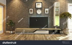 tv unit black brick wall interior stock illustration 332141651