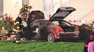 officials car crashes into house in st james catches fire newsday