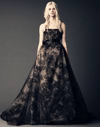 black lace strapless tulle wedding dress with a line hemline
