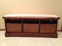furniture lodi wood entryway storage bench with wicker storage