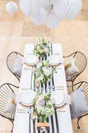 black white striped table runner striped table runner but w natural table cloth and pops of color