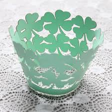 50pcs lot pearly paper clover design vine lace cup cake wrappers