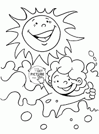summer sun and water coloring page for kids seasons coloring
