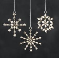 mini snowflake ornaments set of 3 silver snowflake glass
