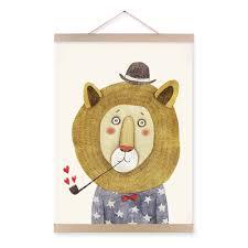 Kids Room Prints by Modern Watercolor Cute Animals Lion Bear Panda A4 Poster Print