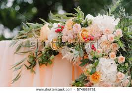 Wedding Archway Beautiful Wedding Arch Decorated Roses Peons Stock Photo 583736812