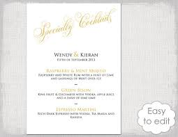 wedding bar menu template cocktail menu template printable gold wedding signature drinks