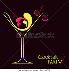 Cocktail Party Invite - cocktail glass abstract splashes cherry design stock vector