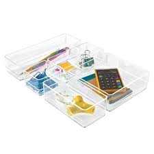 Desk Compartments Acrylic Drawer Organizer Set The Container Store