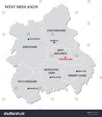 west midlands administrative map stock vector 280344506 shutterstock