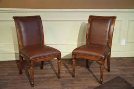 upholstered chairs for dining room solid walnut leather upholstered dining chairs with brass nails