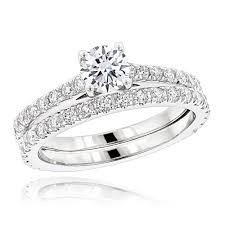 white gold wedding band sets 1 5 carat diamond engagement ring and wedding band set in