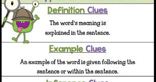 teacher u0027s take out free 5 types of context clues poster