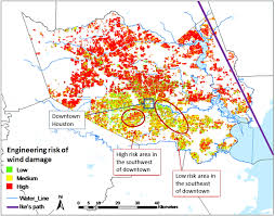 Downtown Houston Map Engineering Based Hurricane Risk Estimates And Comparison To