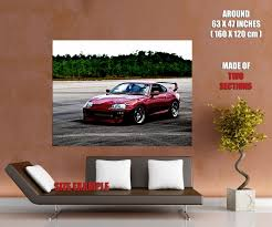 tuned supra toyota supra red tuned racing sport car wall print poster ebay