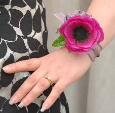 wedding wrist corsage single realistic silk cerise anemone wedding wrist corsage