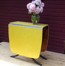 vintage yellow formica drop leaf gate leg kitchen table by beep3