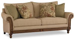 Slaters Furniture Modesto by Hooker Furniture Windward Sofa With Rolled Arm Exposed Wood And