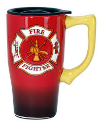 amazon com spoontiques firefighter travel mug red kitchen u0026 dining