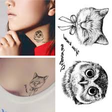 black and white owl design fox tattoos waterproof temporary