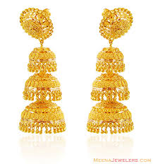 gold jhumka earrings 22k gold jhumka earrings 22kt gold fancy earrings
