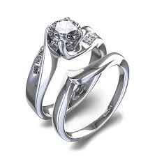 wedding sets ring sets curved womens wedding set in 14k white