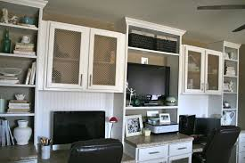 Home Office With Two Desks Office Built In Desks With Tv For The Home Pinterest Desks