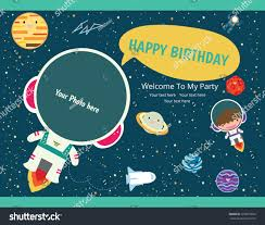 My Birthday Invitation Card Happy Birthday Invitation Card Design Spaceman Stock Vector