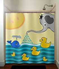 Childrens Shower Curtains by Elephant Whale Rubber Ducky Children Kid Shower Curtain Bathroom