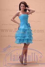 sky blue strapless organza bridesmaids dresses tiered skirt sequin