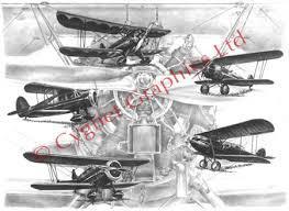 black and white aviation art stearman and waco art pencil