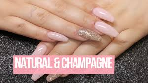 acrylic nail design natural u0026 champange youtube