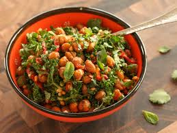 roasted chickpea and kale salad with sun dried tomato vinaigrette