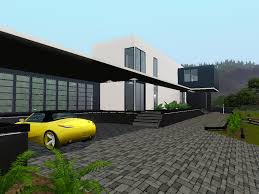 modern house front mod the sims contemporary au courant large modern house