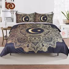 Dark Blue Duvet Beddingoutlet 3 Pcs Gold Mandala Flowers Star Moon Duvet Cover