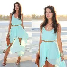 light blue tank dress fashion women chiffon dress asymmetrical hem sleeveless tank dress