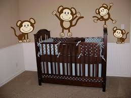 Nursery Room Wall Decor Baby Room Monkey Brown And Blue Baby Nursery Room