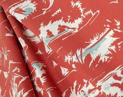 Coastal Fabrics For Upholstery Navy Blue Coastal Coral Indoor Outdoor Designer Fabric By The